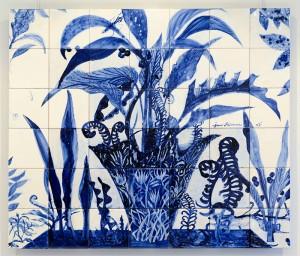 ポルトガル 〈Living in the pot〉 2007年 タイル画  白須 純